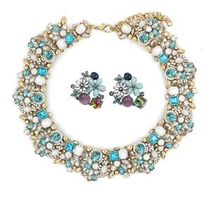 Noble blue crystal flower necklace earrings set